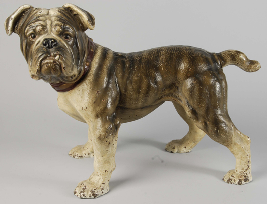 Hubley life-size painted cast-iron English bulldog lawn and garden ornament, circa 1928, only surviving example, estimate $20,000-$25,000. Morphy Auctions image.