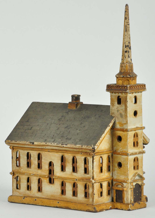 Small version of cast-iron South Church still bank, estimate $3,000-$5,000. Morphy Auctions image.