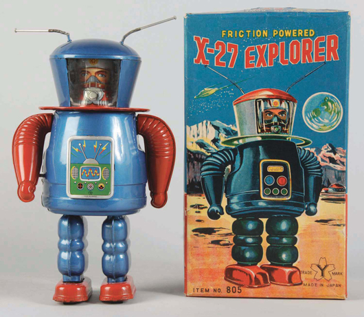 Yonezawa tin litho X-27 Explorer robot, crank-operated variation, 8¾ inches tall, with original box, estimate $6,000-$9,000. Morphy Auctions image.
