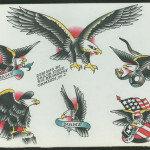 A sheet of 'flash,' or tattoo designs, by 'Sailor Eddie' Evans, a famed tattooist in Philadelphia and Camden, N.J., from the 1950s through the 1980s. Image courtesy of the Independence Seaport Museum.