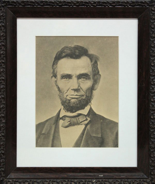A portrait of Abraham Lincoln concealed a note signed by the 16th president. Image courtesy of LiveAuctioneers Archive.