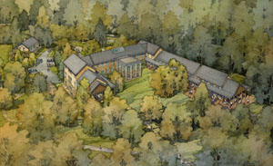 A bird's-eye view of the Fred W. Smith National Library for the Study of George Washington. Image courtesy of the Mount Vernon Ladies' Association.