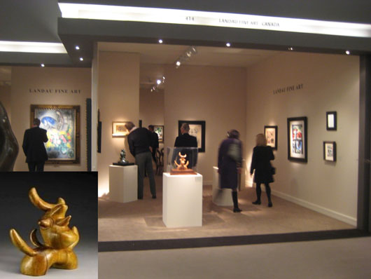 The stand of Landau Fine Art of Canada at the Maastricht fair, where they sold Joàn Miró's olivewood sculpture 'L'Oiseau Lunaire' (inset) for $5 million. Image courtesy Landau Fine Art and TEFAF.