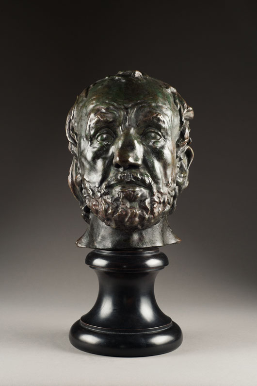 'Man with a Broken Nose,' a rare lifetime cast of the famous work by Auguste Rodin, which London sculpture dealer Robert Bowman sold for £180,000 ($293,000) at the TEFAF, Maastricht in March. Image courtesy of Robert Bowman Limited and TEFAF.