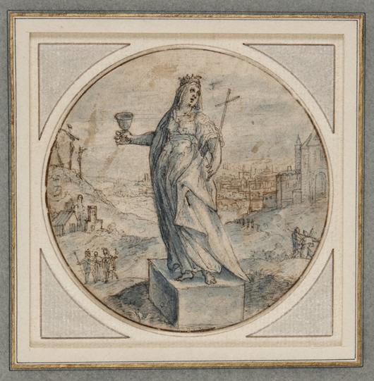Crispijn van de Passe I (1564-1637), 'Emblematic device: An Allegory of Faith,' circa 1590. Pen and brown ink and blue wash, indented for transfer, on the stand of Crispian Riley-Smith at the TEFAF fair in Maastricht in March priced at €40,000 ($57,000).