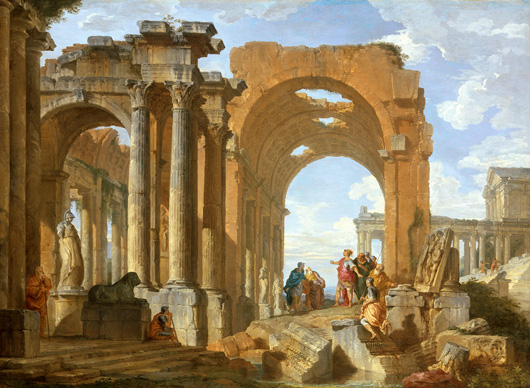 Giovanni Paolo Panini (1691-1765), 'Architectural Capriccio with Figures discoursing among Roman Ruins,' 1730, oil on canvas, to be exhibited by Bernheimer Colnaghi at the forthcoming Masterpiece fair in London from June 30 to July 5. Image courtesy Bernheimer Colnaghi.