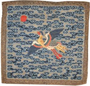 Chinese Rank Badge, China, 18th century, 1 foot x 1 foot. Estimate: $2,000-$3,000. Image courtesy of Nazmiyal Collection.
