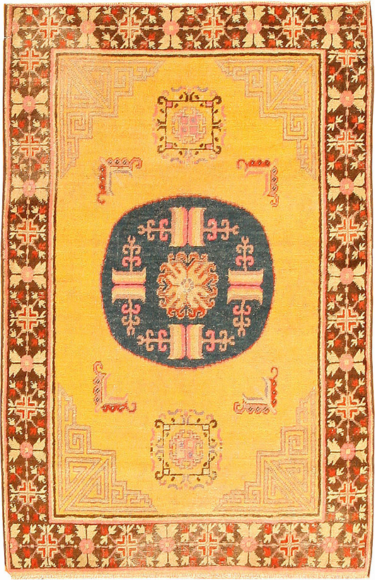 Antique Khotan, East Turkestan, late 19th century, 3 feet 6 inches x 5 feet 3 inches. Estimate: $2,000-$4,000. Image courtesy of Nazmiyal Collection.