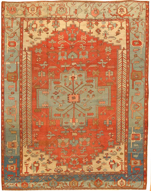 Antique Serapi, Persia, late 19th century, 9 feet x 11 feet 7 inches. Estimate: $20,000-$30,000. Image courtesy of Nazmiyal Collection.
