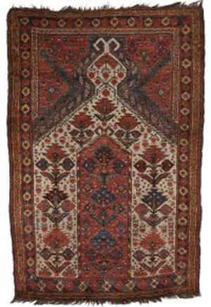 Beshir prayer rug, West Turkestan, second half 19th century, minor moth damage in one corner, small rewoven spot, 5 feet 2 inches x 3 feet 6 inches. Estimate $10,000-$12,000. Image courtesy of Skinner Inc.
