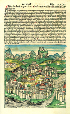 A page from the 'Nuremberg Chronicle,' with color added, depicts the city of Constantinople. Image courtesy of Wikimedia Commons.