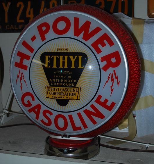 Hi-Power Gasoline globe with ethyl logo lenses in the original red ripple glass body, $2,760. Matthews Auctions image.
