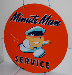 """The top lot was this Union """"Minute Man"""" double-sided porcelain sign with graphics, $12,938. Matthews Auctions image."""