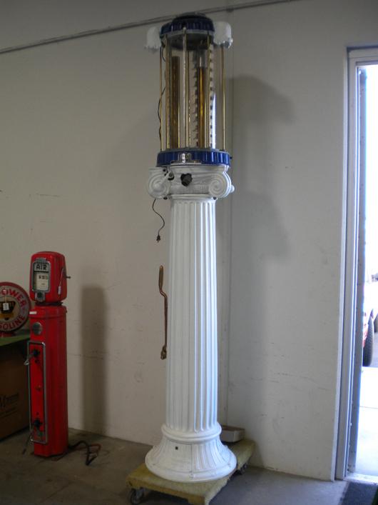 Wayne Roman column 10-gallon visible gas pump, complete, with all original pieces, $12,650. Matthews Auctions image.
