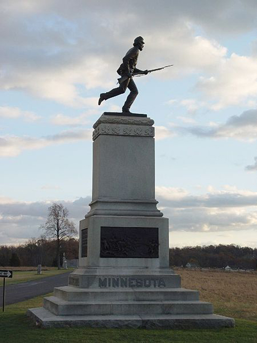 Monument to the 1st Minnesota Infantry at Gettysburg National Battlefield, Gettysburg, Pennsylvania. Image licensed under the Creative Commons Attribution-Share Alike 2.5 Generic and 1.0 Generic license.