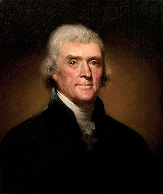 Thomas Jefferson, third President of the United States, in office from March 4, 1801 through March 4, 1809.