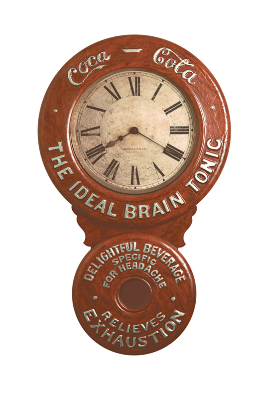 Baird Clock Co. produced one of its many advertising wall clocks for Coca-Cola in 1893. Image courtesy of the Schmidt Museum of Coca-Cola Collectibles.