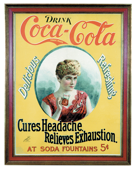 Like most early Coca-Cola posters, this one issued circa 1895 featured an attractive woman. It is the only one like it known to exist and is estimated to sell for $30,000. Image courtesy of the Schmidt Museum of Coca-Cola Collectibles.