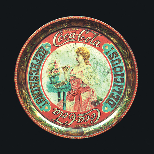 The Schmidt museum has the only known complete collection of more than 200 styles of Coca-Cola serving trays. This is the hardest to find, dating from 1897. Image courtesy of the Schmidt Museum of Coca-Cola Collectibles.