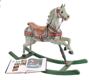 Rocking horse composed from circa-1900 carrousel horse in all-original condition, featured in the book The Rocking Horse by Patricia Mullins, est. $4,000-$6,000. Noel Barrett Auctions image.