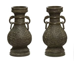 Chinese imperial bronze vases, $660,000. Image courtesy of Leslie Hindman Auctioneers.