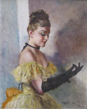 Pal Fried, 'Black Glove,' oil on canvas, 30 x 24 inches. Estimate: $1,000-$1,500. Images courtesy of Rachel Davis Fine Arts.