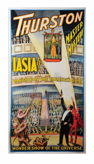 Howard Thurston's three-sheet color lithograph poster from the late 1920s has a $4,000-$5,000 estimate. Image courtesy of Potter & Potter Auctions Inc.