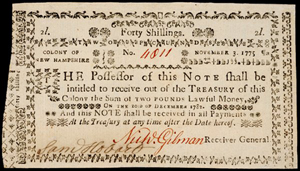 Ownership of the printing plate used to print this 1775 New Hampshire currency is in dispute. Image courtesy of LiveAuctioneers Archive and Early American History Auctions Inc.
