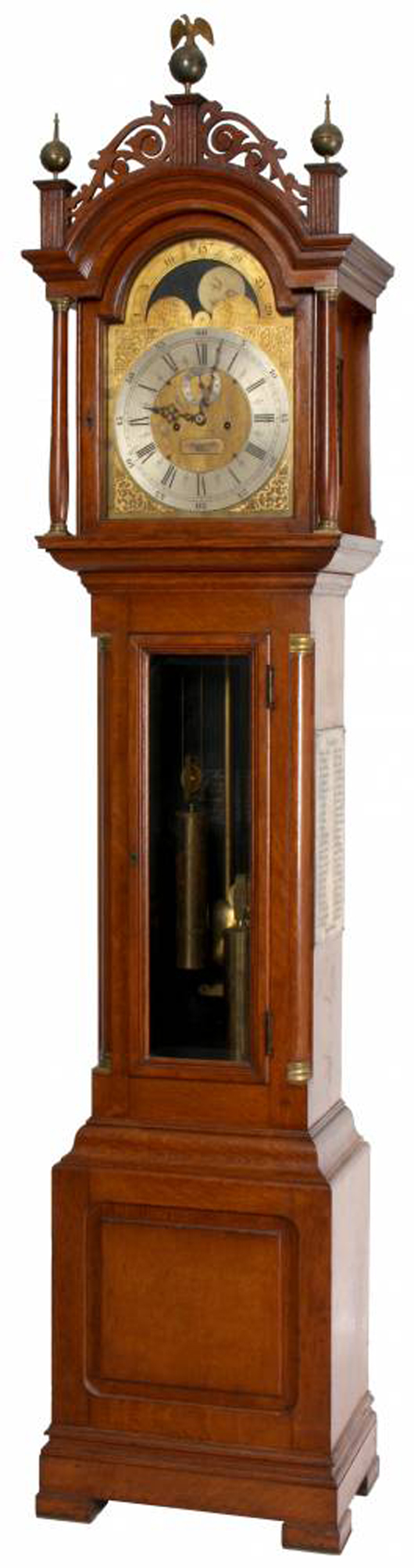 E. Howard & Co.  No. 81 oak grandfather clock , 98 inches tall (est. $8,000-$12,000). Image courtesy of Fontaine's Auction Gallery.