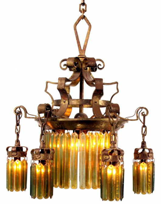 Tiffany six-arm chandelier with 88 Tiffany iridescent glass prisms (est. $10,000-$12,000). Image courtesy of Fontaine's Auction Gallery.
