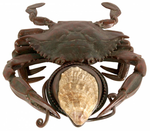 Tiffany Studios bronze crab inkwell with exceptional patina (est. $10,000-$15,000). Image courtesy of Fontaine's Auction Gallery.