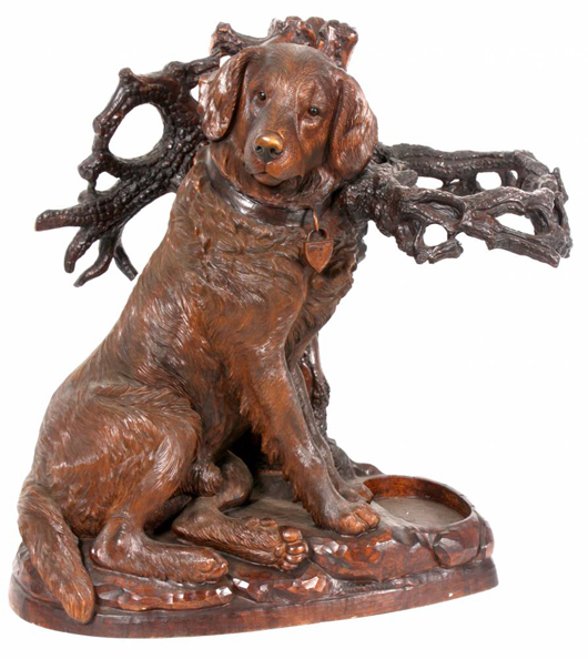 Large figural carved dog umbrella stand in excellent original finish (est. $20,000-$30,000). Image courtesy of Fontaine's Auction Gallery.
