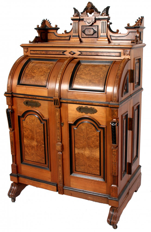 Wooten extra grade three-hinge cabinet secretary, 76 inches tall (est. $15,000-$25,000). Image courtesy of Fontaine's Auction Gallery.