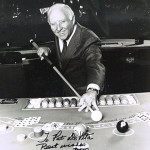Willie Mosconi autographed this publicity photograph of himself. Image courtesy of LiveAuctioneers Archive and The Written Word Autographs.