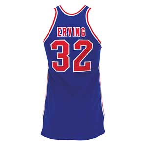 1972-73 Julius Dr. J' Erving Virginia Squires ABA game-used and autographed road jersey, sold for $190,414 in Grey Flannel's May 11, 2011 Summer Games Auction. Grey Flannel Auctions image.
