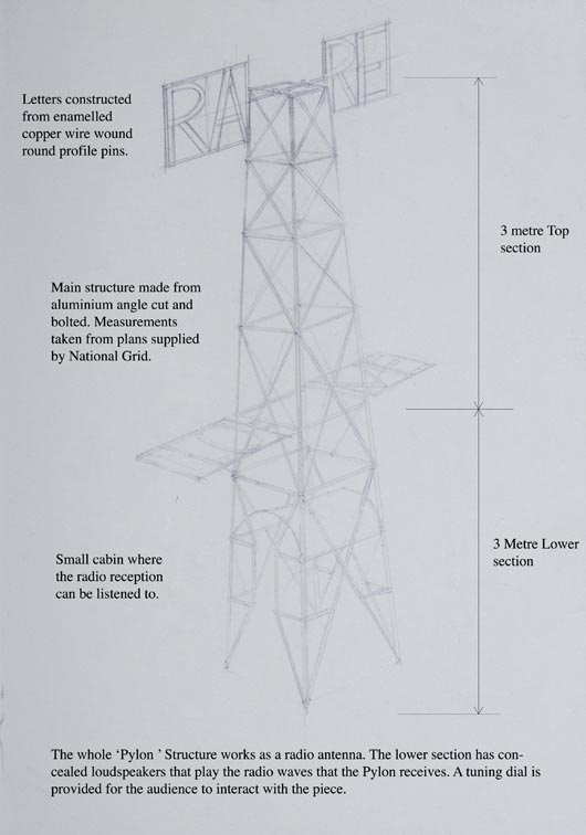 Artist's drawing for the proposed 'RARE LOVE' pylon. Image courtesy of Jonathan Wright.