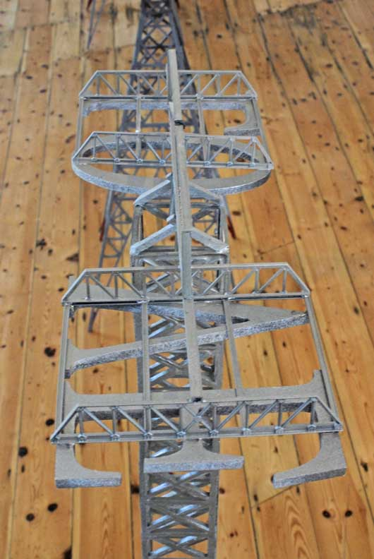 Close-up view of a pylon structure created by Jonathan Wright for a past exhibition. Image courtesy of Jonathan Wright.