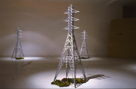 Jonathan Wright 'Pylon' installation shown at a London gallery is an example of a recurring theme in the artist's recent work – the inclusion of pylons or towers. Image courtesy of Jonathan Wright.