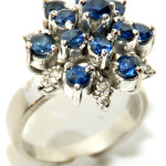 Mounted in 18K white gold, this sapphire and diamond cocktail ring from the 1960s is size 5 1/2. Estimate: $400-$600. Image courtesy of Gray's Auctioneers.