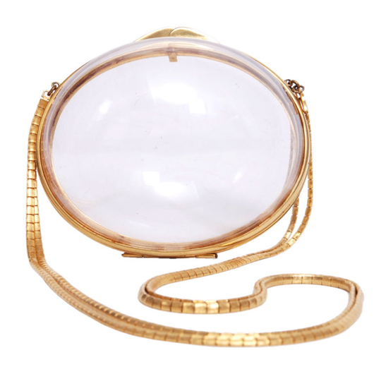 Measuring just 6 inches by 5 inches, this Judith Leiber gold tone metal and Lucite bag is early and rare. Photo credit: P.S. (Post Script).