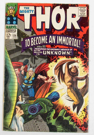Thor, pictured on the cover of 'The Mighty Thor No. 136,' has been a smash hit at the box office. Image courtesy of LiveAuctioneers Archive and Pioneer Auction Gallery. The Mighty Thor and all Marvel characters and the distinctive likeness(es) thereof are trademarks & Copyright © 1966 Marvel Characters, Inc. All rights reserved.