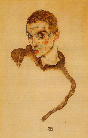 'Self Portrait,' watercolor, by the Austrian painter Egon Schiele. Private collection. Image courtesy of The Athenaeum and Wikimedia Commons.