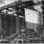 The RMS Olympic and RMS Titanic were under construction at the same shipyard in Belfast, Ireland, circa. 1910. Image courtesy of Wikimedia Commons.