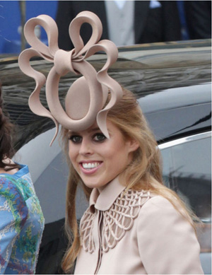 f5954595ba9575 Princess Beatrice wearing the hat designed by Philip Treacy. Image courtesy  of ebay.co