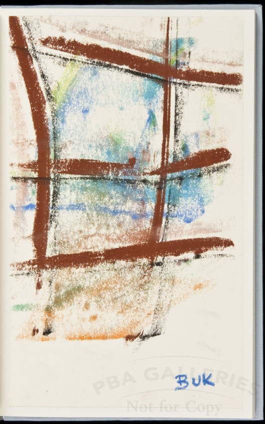 The Bukowski/Purdy Letters: 1964-1974, A Decade of Dialogue, with an original, signed pastel drawing by Charles Bukowski. Est. $7,000-$10,000. Image courtesy of LiveAuctioneers.com and PBA Galleries.