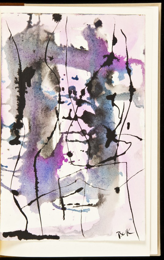 Charles Bukowski, The Days Run Away Like Wild Horses Over the Hills, No. 4 of 50 copies with an original, signed watercolor and ink painting by Bukowski, 1969. Est. $5,000-$8,000. Image courtesy of LiveAuctioneers.com and PBA Galleries.