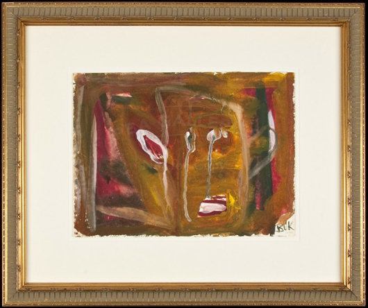 Charles Bukowski, original abstract watercolor on paper, 9 x 12 in., matted and framed, signed lower right, publ. circa 1970. Est. 5,000-$8,000. Image courtesy of LiveAuctioneers.com and PBA Galleries.