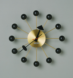 Ball Wall Clock, designed in 1947 George Nelson (American, 1908-1986). Painted birch, steel, brass, Image courtesy of the Philadelphia Museum of Art, Gift of Collab: The Group for Modern and Contemporary Design at the Philadelphia Museum of Art, 1983.