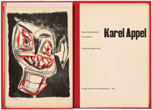 Hugo Claus (1929-2008) - Karel APPEL, (1921-2006). [Parijs, 1954]. Vouwblad met vijf losse bladen met litho's in luxe overslagdoos (Phoenix). Estimate: 20,000 euros - 25,000 euros. Image courtesy of Adams Amsterdam Auctions.