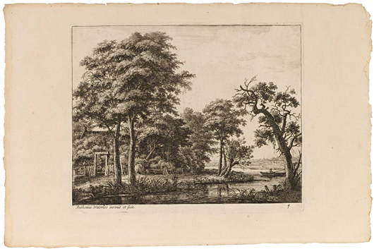 Anthonie Waterloo (1618-1662). Suite de quatre-vin. Paris, Basan Freres, (ca. 1784-1786). Sm. folio Letterpress title followed by 76 etchings signed by Waterloo on 45 (of 47 or 49) leaves, of which 24 large full-page etchings. Estimate:6,000 euros - 8,000 euros. Image courtesy of Adams Amsterdam Auctions.